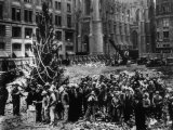 Construction Workers Line up for Pay Beside the First Rockefeller Center Christmas Tree Photographie