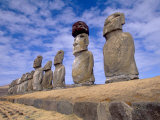 15 Moais at Ahu Tongariki, Easter Island, Chile Photographic Print by Walter Bibikow