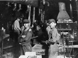 Young Boys Working at Midnight in Indiana Glassworks. Photographic Print
