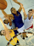 High Angle View of Young Women Playing Basketball Reproduction photographique