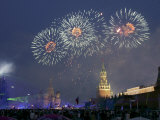A Fireworks Light up Above the Kremlin's Spasskaya (Saviour) Tower Photographic Print