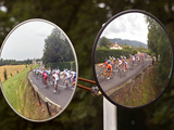 Mirrors at a T-Junction Reflect Riders During the 18th Stage of the Tour De France Photographic Print