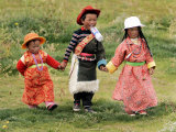 Young Tibetan Children Walk Hand in Hand Near Qinghai Lake Photographic Print