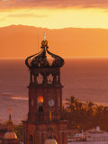 Tower of Nuestra Senora de Guadalupe at Sunset, and Bay of Banderas, Puerto Vallarta, Mexico Photographic Print by John &amp; Lisa Merrill