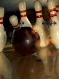 Bowling Ball Striking Pins Photographic Print