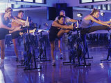 Group of People Exercising in a Gym Photographic Print