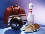 Bowling Ball with a Bowling Pin and Bowling Shoes Photographic Print