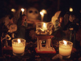 Day of the Dead Night Vigil Details, Oaxaca, Mexico Photographic Print by Judith Haden