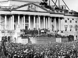 U.S. President Abraham Lincoln Stands Under Cover at Center of Capitol Steps Photographic Print