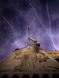 A Show of Lightning Ripples Across the North Texas Sky Above the Bass Performance Hall Photographic Print