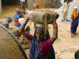 Women Construction Workers Prepare Concrete at a Site for a Multiplex Complex Photographic Print