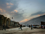Children Run Across the Street as Spring Temperatures Return to Kabul Photographic Print