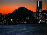 Yokohama City is Lit up Under Dusk at Sunset with the Backdrop of the Mount Fuji Photographic Print