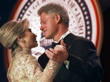 President Clinton Dances with His Wife Hillary at the Veterans Ball Monday Photographic Print