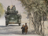 Afghan Boys Walk Along a Path While International Security Assistance Force (Isaf) Photographic Print