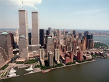 The Twin Towers of the World Trade Center Rise Above the New York Skyline Reprodukcja zdjęcia