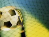 Goalie Holding a Soccer Ball Fotografie-Druck