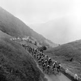 Peleton na wyczerpującym etapie Tour de France na drodze do przełęczy Menté Reprodukcja zdjęcia