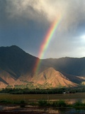 A Rainbow Reaches for the Banks of Kashmir's Dal Lake Photographic Print
