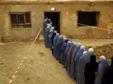 Afghan Women Wearing Burqa Line up to Vote at a Polling Station Photographic Print