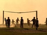Children from the Toba Qom Ethnic Group Play Soccer During Indegenous Indian Day Celebration Fotografie-Druck