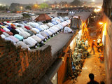 Indian Muslims Take Their Evening Prayers Photographic Print
