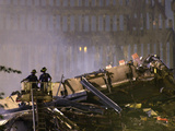 Two New York Firefighters View the Smoldering Rubble Photographic Print