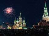 Fireworks on Red Square in Moscow Photographic Print