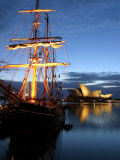 Sydney Opera House and Tall Ship at Dawn, Sydney, Australia Photographic Print by David Wall