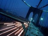 Car Headlights Streak by on New York's Brooklyn Bridge at Dusk Photographic Print
