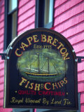 Fish and Chips Sign, Cape Breton, Sydney, Nova Scotia, Canada Photographic Print by Greg Johnston
