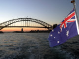 Australian Flag and Sydney Harbor Bridge at Dusk, Australia Photographic Print by David Wall