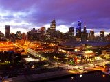 Telsta Dome and Melbourne CBD at Dawn, Victoria, Australia Photographic Print by David Wall