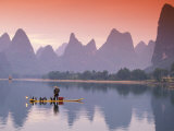 Cormorant Fisherman on Li River, China Photographie par Walter Bibikow