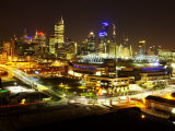 Telsta Dome and Melbourne CBD at Night, Victoria, Australia Photographic Print by David Wall