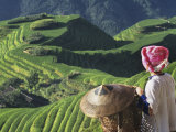 Zhuang Girl with Rice Terraces, China Photographic Print by Keren Su