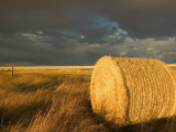 Landscape and Hay Roll in Alberta, Canada Photographic Print by Walter Bibikow