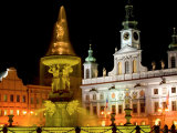 Samson fountain and Town Hall, Ceske Budejovice, Czech Republic Photographic Print by Russell Young