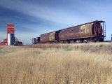 Grain Elevators and Wheat Train, Saskatchewan, Canada Photographic Print by Walter Bibikow