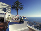 Restaurant Terrace on the Mediterranean Sea, Tunisia Fotoprint van Michele Molinari