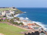 View towards El Morro from Fort San Cristobal in San Juan, Puerto Rico Photographic Print by Jerry & Marcy Monkman