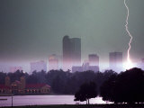 Lighting Strikes in Downtown Denver Fotografisk trykk