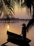 Evening View on the Mekong River, Mekong Delta, Vietnam Photographie par Keren Su