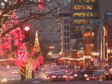 Avenue McGill College with Christmas Decor, Montreal, Quebec, Canada Photographic Print by Walter Bibikow