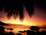 Tropical Sunset on Beauvallon Bay, Seychelles Photographic Print by Nik Wheeler