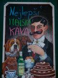 Restaurant Sign, Prague, Czech Republic Lámina fotográfica por Russell Young