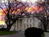 The Early Morning Sunrise Warms up the Winter Sky Behind the White House Photographic Print