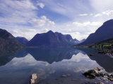 Mountain Reflecting in Fjord Waters, Norway Photographic Print by Michele Molinari