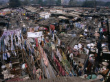 Overhead of Laundry Hanging at Dhobi Ghats, Mumbai, India Photographic Print by Johnson Dennis