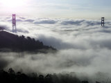 Fog Shrouds the Golden Gate Bridge and the Marin Headlands Near Sausalito Photographic Print